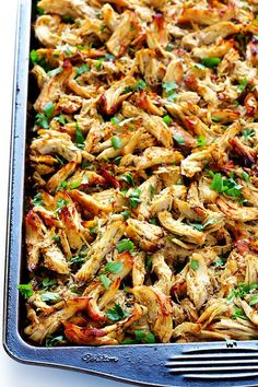 These Slow Cooker Crispy Chicken Carnitas are made easy by simmering for hours in the crock pot, then they're briefly crisped up in the broiler, resulting in tender, crispy, juicy, and absolutely DELICIOUS chicken carnitas. Perfect for tacos, burritos, or whatever sounds good!   http://gimmesomeoven.com