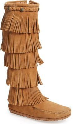 4994002810a Minnetonka  5 Layer Fringe  Boot in Black. Tiered fringe cascades down the  shaft