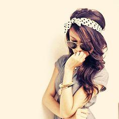 Cute polka dot head band and hair Cute Headband Hairstyles, Cute Headbands, My Hairstyle, Pretty Hairstyles, Hairstyle Tutorials, Makeup Hairstyle, Latest Hairstyles, Hairstyle Ideas, Love Hair