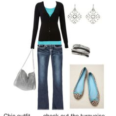 Black and turquoise outfit