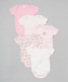 Pink & White Rose Bodysuit Set - Infant