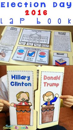 Your students will love completing this Lap Book as you teach about Election Day 2016. It includes Vocabulary, Writing, How to Vote and SO much more. Hillary Clinton and Donald Trump Biography included. Download now.