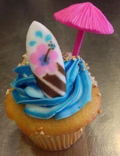 Beach theme cupcakes from Cake Boss Cafe.  I found these cute surfboards and just made a batch this weekend