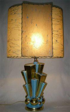 50s RETRO ATOMIC MID CENTURY MODERN LAMP FIBERGLASS Shade C.Miller Skyscraper