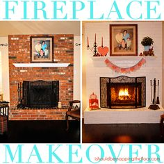 i should be mopping the floor: Fireplace Makeover {in a day!} (hoh132)...want to do this to our fireplace.