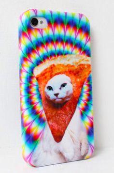 Trippy pizza cat iPhone case.