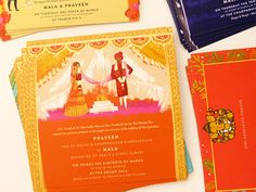 indian wedding invitation, thailand wedding illustrated by Laura Shema for Jolly Edition