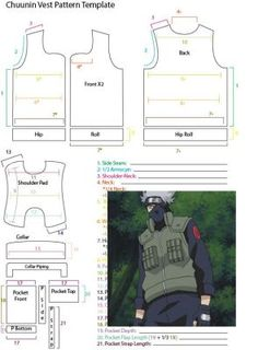 Cosplay Costume Chuunin Vest Pattern Template by YumeLifeCosplay - Naruto Cosplay, Naruto Costume Diy, Anime Cosplay, Cosplay Diy, Cosplay Outfits, Anime Outfits, Kakashi, Naruto Clothing, Anime Crafts