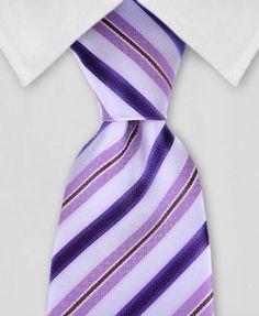 Purple & White Striped Necktie
