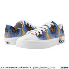 ROSE OF SHARON LOW TOPS - BLUE ROSES ON GOLD PRINTED SHOES