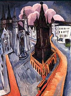 "Ernst Ludwig Kirchner 1880-1938  The Red Tower at Halle, 1915      ""German Expressionism is a style of art that is charged with an emotional or spiritual vision of the world. The expressive paintings of Vincent Van Gogh and Edvard Munch influenced the German Expressionists. They also drew their inspiration from German Gothic and 'primitive art'. The Expressionists were divided into two factions: Die Brücke and Der Blaue Reiter."""