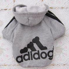 Tzou Adidog Hoodie Pet Clothes Dog Sweater Puppy Sweatshirt Warm Small Coat Christmas Gift 1-pc Set (Grey)