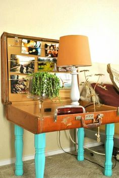Clever!!! Suitcase table