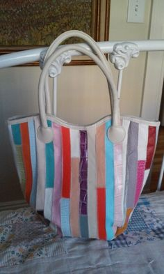 80s RAINBOW STRIPES TOTE--Patchwork Leather--With Echtes Leder Tag by VINTAGELOVERGIRL on Etsy