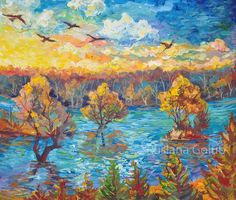 Autumn Swallow flying Impressionist art Magical sky Forest Sunset illustration F. Autumn Swallow f Landscape Art, Landscape Paintings, Watercolor Paintings, Forest Sunset, Sunset Sky, Forest Illustration, Impressionist Art, Impressionism, Witch Art