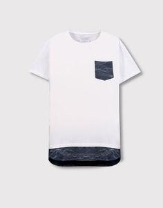 Pull&Bear - homem - vestuário - blusas - t-shirt painel e bolso contraste - branco - 09237596-I2016