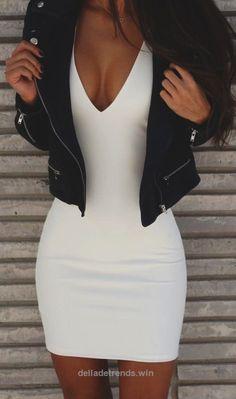 #summer #fashion / white bodycon dress + jacket… http://www.delladetrends.win/2017/07/15/summer-fashion-white-bodycon-dress-jacket/