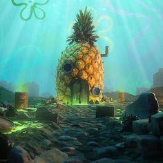 pixalry: SpongeBob Location Series- Created by Mark Renders Cartoon Wallpaper, Iphone Wallpaper, Spongebob House, Pineapple Under The Sea, Belle Photo, Cartoon Art, Trippy, Game Art, Fantasy Art
