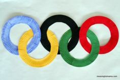 Olympic sign, olympic idea, preschool crafts, activities for kids, crafts f Kids Olympics, Summer Olympics, Senior Olympics, Preschool Crafts, Craft Activities, Kids Crafts, Sea Crafts, Kindergarten Crafts, Asterix E Obelix