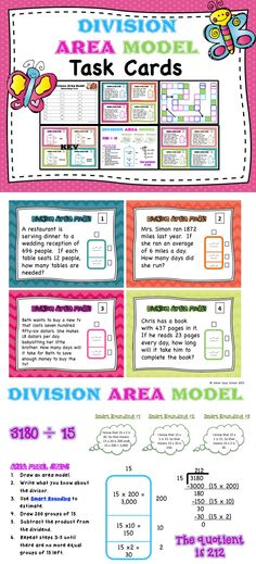 Area Model for Division Task Cards –Task cards are very versatile and a great alternative to worksheets.  These task cards can be used in games, centers, as question cards for a whole class review, morning work, or even flash cards.