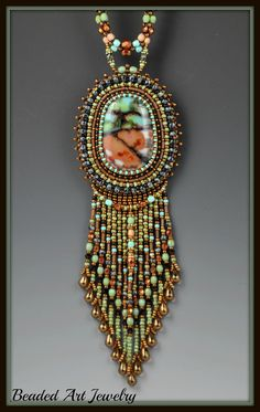 """Bead Embroidery, Beadwork, Beadwoven and Fused Glass"""" Canyon Walls Necklace"""". $278.00, via Etsy."""