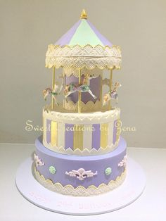 Sweet Creations by Zena Carousel Birthday Parties, Birthday Cake Girls, Carousel Cake, Carousel Party, Beautiful Cakes, Amazing Cakes, Button Cake, Purple Cakes, Horse Cake