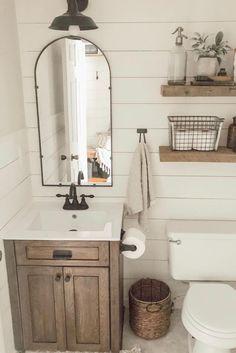 Farmhouse Bathroom Makeover On A Budget Tour Our Entire Bathroom Makeover Including Our Ideas And Diy Proje In 2020 Rustic Bathroom Rustic Bathrooms Bathroom Styling