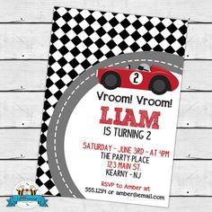 Vintage Race Car Birthday Invitation Race car birthday and Cars