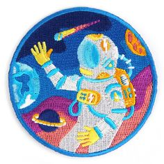 Outer Space Decorative Embroidered Sew or Iron-on Backing Patch