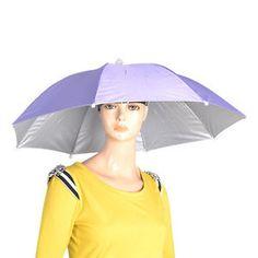 Black Elastic Purple Headband Folding Umbrella HAT CAP W String FOR Fishing   62880aff345