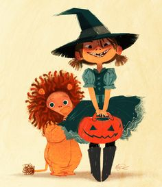 Trick or treat!  Delightful Halloween illustration by artist Meg Park (megpark.tumblr.com)