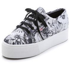 Superga Annabel Platform Sneakers (1.780 UYU) ❤ liked on Polyvore featuring shoes, sneakers, laced up shoes, floral printed shoes, superga sneakers, lace up sneakers and superga