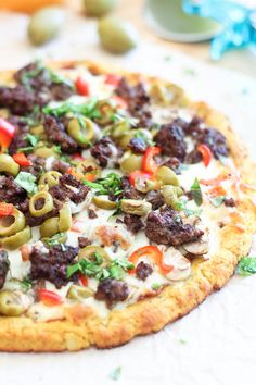Cauliflower Crust Pizza with Ground Beef and Olives