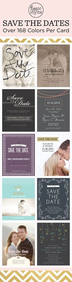 Choose from magnets, postcards or traditional save the dates. Match your colors & style with each save the date in over 150 different colors.