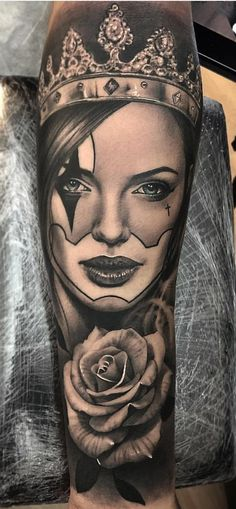 26 New Ideas Tattoo Sleeve Girl Leg Design Chicanas Tattoo, Skull Girl Tattoo, Girl Face Tattoo, Clown Tattoo, Forarm Tattoos, Real Tattoo, Top Tattoos, Black Tattoos, Body Art Tattoos