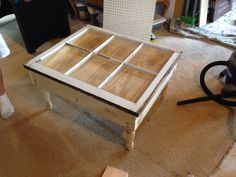 Old window turned into coffee table