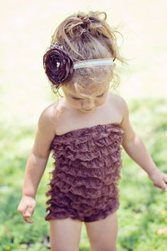 Brown ruffle lace romper with matching brown by PrettyPetalsHair, $32.95