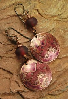 Etched Metal Lampwork Beaded Rose Butterfly by ccjewelrydesign, $25.00