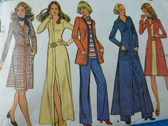 vintage sewing pattern 70s McCalls 3324 dress jacket pants