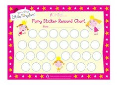This bright and colourful Ben  Holly's Little Kingdom Fairy sticker reward chart, allows you to praise and reward your child when they have done something good. Simply add their name at the top, and give them a sticker when you think they deserve one!