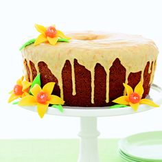 Tangerine Chiffon Cake with Candy Daffodils - A sweet tangerine glaze increases the citrus power of this moist chiffon cake.