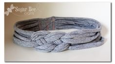 Knotted headband with t-shirt yarn