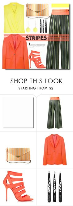 """""""Strong Stripes: Graphic Striped Pants"""" by kts-desilva ❤ liked on Polyvore featuring Martina Spetlova, River Island, Sole Society, Paul Smith, Jimmy Choo, Alexis Bittar and stripedpants"""