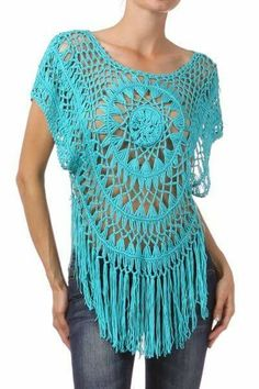 Crochet top with fringe Beau Crochet, Mode Crochet, Crochet Tunic, Diy Crochet, Crochet Clothes, Hairpin Lace Patterns, Hairpin Lace Crochet, Crochet Fringe, Crochet Stitches Patterns