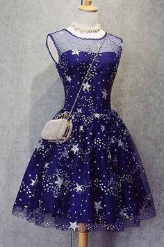 2017 homecoming dresses, royal blue homecoming dresses, beaded homecoming dresses, stars printed homecoming dresses, short prom dresses, formal dresses, party dresses, graduation dresses#SIMIBridal #homecomingdresses