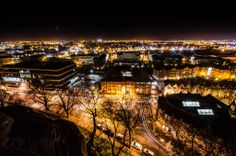 View south from Nottingham Castle on Light Night 2014.