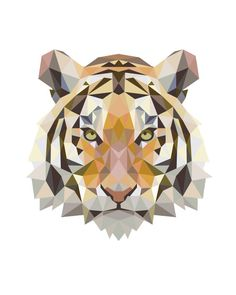 Geometric Tiger Art, Low Poly Tiger Print, Geometric Tiger Animal Art Orange…