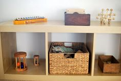 I've been meaning to share pictures of Henry's new Montessori bedroom. It's a lot different than his Montessori nursery in Houston . In ou. Maria Montessori, Montessori Toddler, Montessori Toys, Baby Bedroom, Kids Bedroom, Infant Classroom, Reggio Classroom, Toy Shelves, Shelf