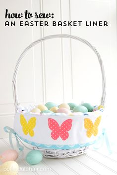 A free easter basket liner pattern with addition of laser cut applique shapes. How to make a cute easter basket liner, a sewing pattern