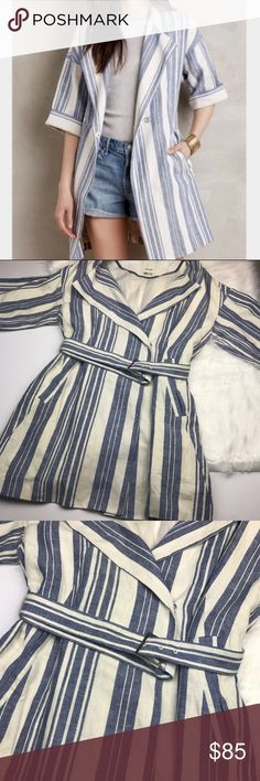 Anthropologie Elevenses Linen Stripe Trench Jacket NWOT • Never worn • Anthropologie Elevenses linen striped trench jacket • Adjustable belt closure • Button closure • Beautiful blue and white vertical stripes • Oversized sleeves • Please ask all questions before purchasing • Size medium. Anthropologie Jackets & Coats Trench Coats